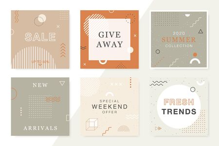 Trendy Sale and Discount backgrounds in memphis style. Modern promotion square web banners for social media and mobile apps. Vector layouts collection.