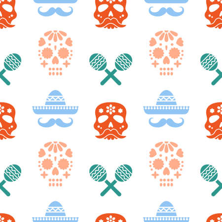 Seamless pattern for Dia de los muertos - mexican holiday Day of the dead. Repetitive print with colorful skulls, sombreros and maracas. Vector illustration.
