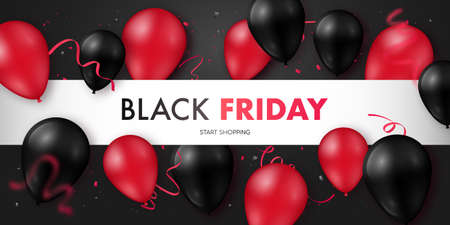 Black Friday Sale banner with glossy black and red balloons. Vector illustration. Concept design for websites, web headers, advertising banners.