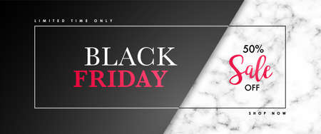 Black friday Sale banner with marble texture and text. Vector design template for websites, advertising banner, web headers.