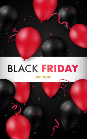 Black Friday Sale poster with glossy black and red balloons. Vector illustration. Concept design for flyers, brochures, advertising banners.