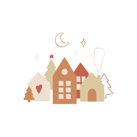 Hand drawn Christmas design with traditional scandinavian hauses. Merry holidays. Vector template for new year, gift tag, greeting cards, invitations, etc.