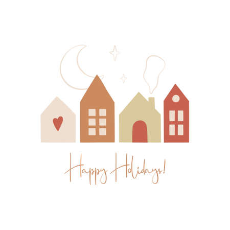 Happy hollidays greeting card in scandinavian style. Hand drawn cute hauses, fir trees, snowflackes and moon. Vector illustration. Ilustracja