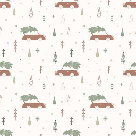 Christmas seamless pattern with car and fir tree. Winter wallpaper in Scandinavian style. Vector illustration.