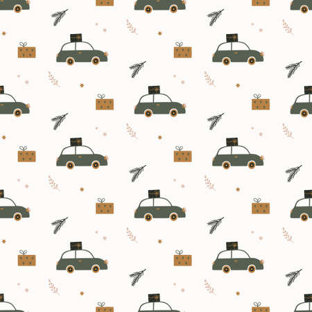 Hand drawn seamless pattern with car, gift boxes and fir branches. Winter wallpaper in Scandinavian style. Christmas time vector illustration.