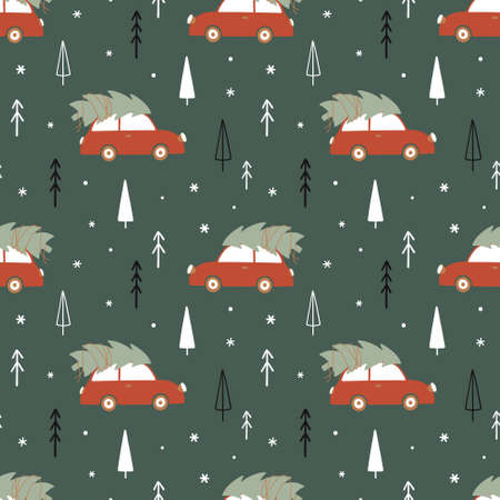 Christmas time seamless pattern with car and christmas tree in a forest. Winter wallpaper in Scandinavian style. Vector illustration.