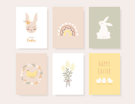 Set of Easter greeting cards, invitation and posters. Cute hand drawn cards with bunnies, eggs, chickens and chicks in boho style. Vector illustration. Vektorgrafik