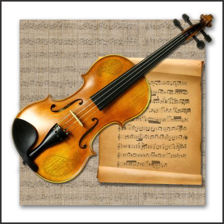 Violin with music notes on scroll photo