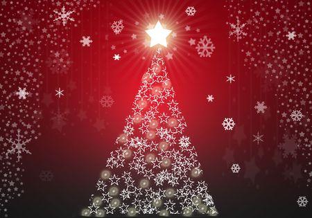 星と赤のクリスマス ツリーの背景 写真素材