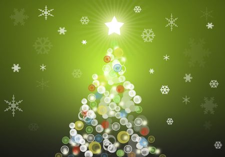 Green christmas tree background with snowflakes
