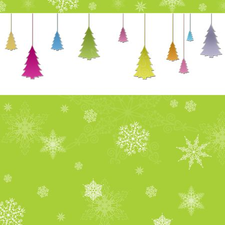 New Year background with christmas trees Stock Photo