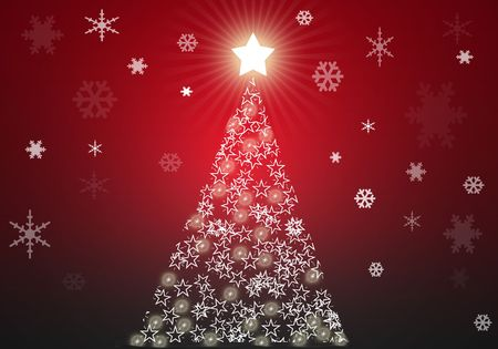 Red christmas tree background with stars Stock Photo