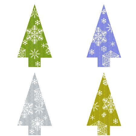 白い背景の上の雪のクリスマス ツリー