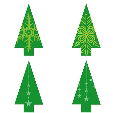 Christmas trees on white background Stock Photo