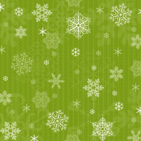 Green winter Christmas background with snowflakes