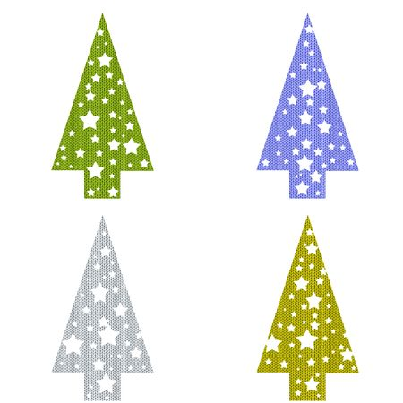 Christmas tree with stars on white background Stock Photo