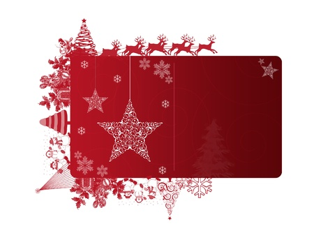 Red Christmas frame with text area on white background
