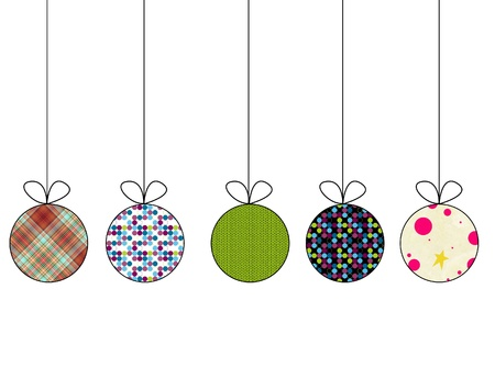 knitted background: Set of christmas balls Stock Photo