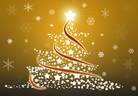 Gold christmas tree background with stars Stock Photo