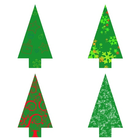 Colourful Christmas tree on white background
