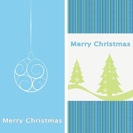 Blue new year card with christmas ball and tree