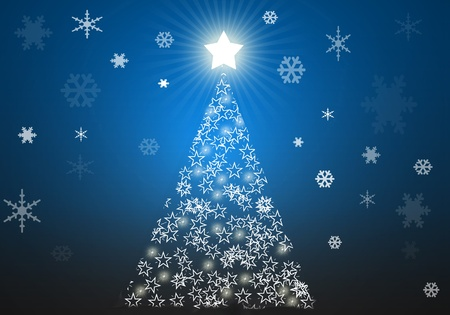 Blue christmas tree background with stars photo