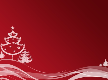red new year background with christmas trees