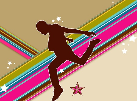 Retro background with dancing boy Stock Photo