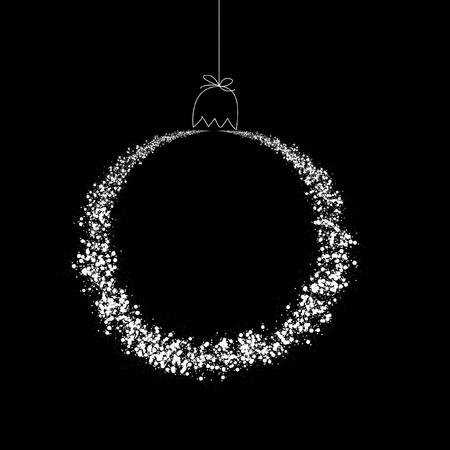 黒い背景に白いクリスマス ボール