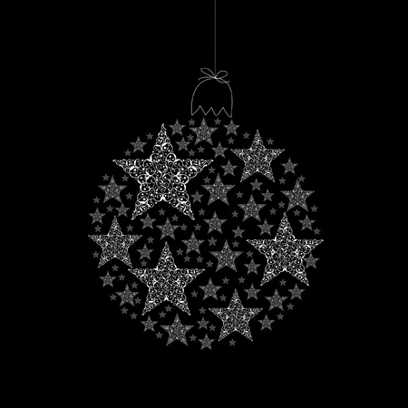 White christmas ball on black background