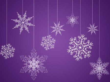 Purple christmas new year background with snowflakes Stock Photo