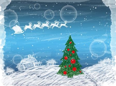 創造的な塗られた冬クリスマス カード