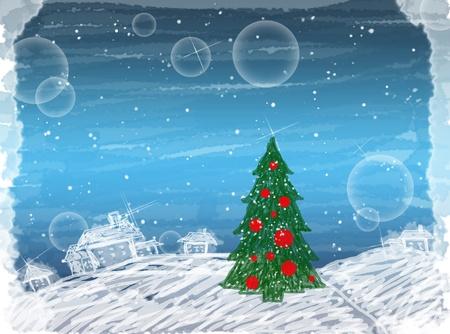 weihnachten: Creative painted winter christmas card