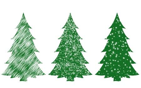 Set of christmas trees Stock Photo