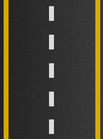 road marking: white and yellow lines on asphalt texture  Stock Photo