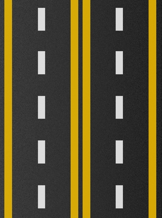 アスファルト テクスチャ上の白と黄色の線