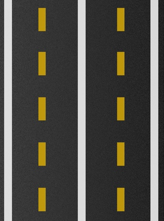 white and yellow lines on asphalt texture  Stock Photo