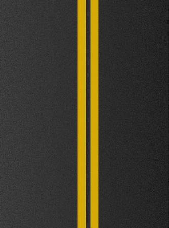 アスファルト テクスチャに二重黄色ライン