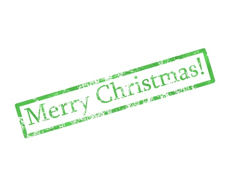 green grungy merry christmas stamp Stock Photo