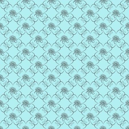 Blue damask seamless wallpaper pattern Stock Photo - 8433005