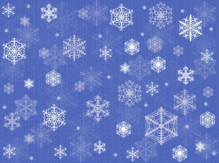 knitted background: Blue winter Christmas background with snowflakes