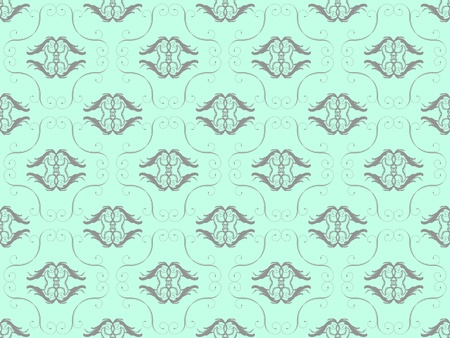 Blue damask seamless wallpaper pattern Stock Photo - 8432925