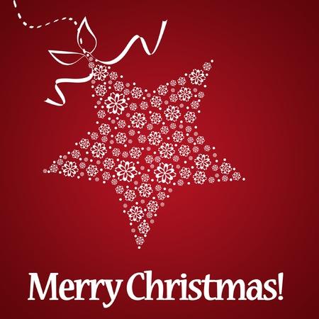 weihnachten: White christmas star on red background