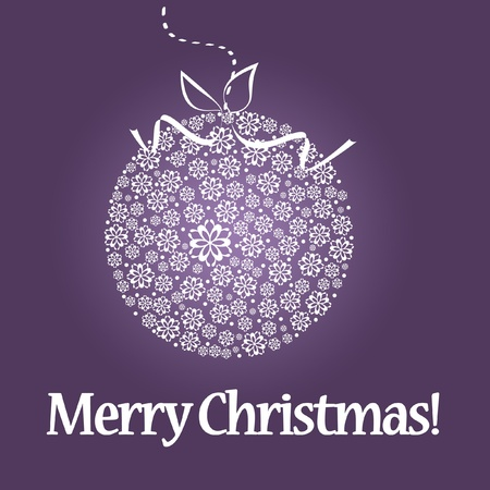 White christmas ball on purple background photo