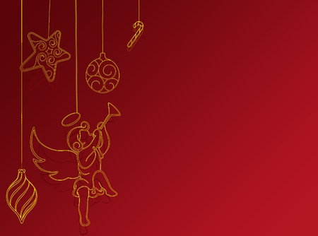 Red new year background with christmas  and angel