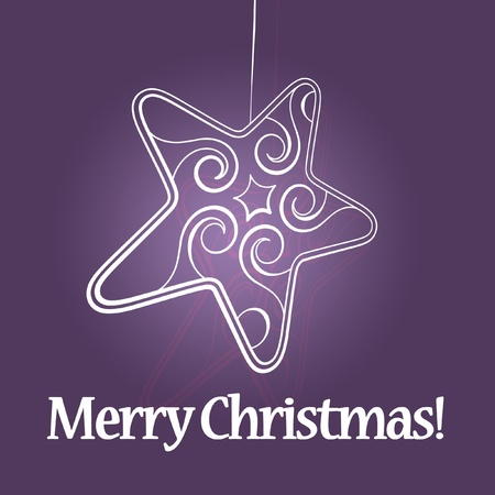 White christmas star on purple background photo