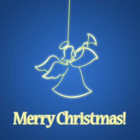 White christmas angel on blue background