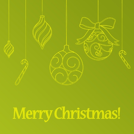 Green new year background with christmas balls photo
