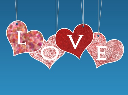 Valentine love card isolated on blue background