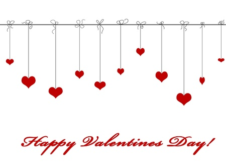Hanging red valentine hearts isolated on white background